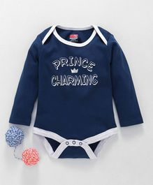 Babyhug Full Sleeves Cotton Onesie Prince Charming Print - Navy Blue