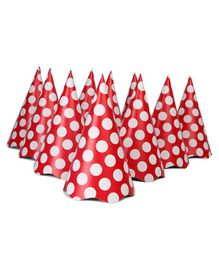 B Vishal Polka Dots Print Paper Caps Red - Pack of 10