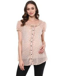 Wobbly Walk Maternity Puff Sleeves Top Dot Print - Pink