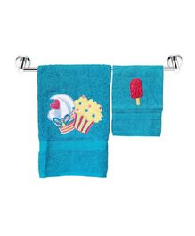 Little Jamun Bath & Hand Cotton Towel Cupcake Print - Blue