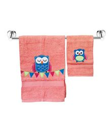 Little Jamun Bath & Hand Cotton Towel Owl Print - Coral