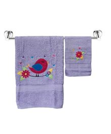 Little Jamun Bath & Hand Cotton Towel Bird Print - Purple