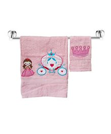 Little Jamun Bath & Hand Cotton Towel Princess Print - Pink