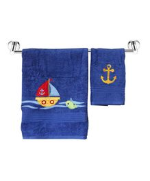 Little Jamun Bath & Hand Cotton Towel Ship Print - Blue
