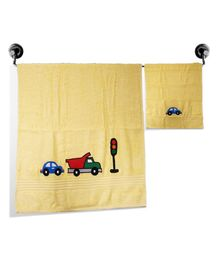 Little Jamun Bath & Hand Cotton Towel Vehicle Print - Cream