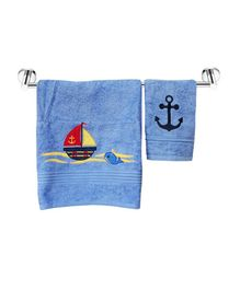 Little Jamun Bath & Hand Cotton Towel Ship & Whale Print - Blue