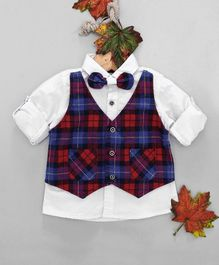 OB Baoney Checked Theme Full Sleeves Shirt With Mock Waistcoat & Bow - Red & Blue