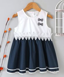 B&G Kids Bow Embellished Sleeveless Dress - Blue & White