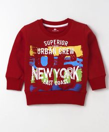 Olio Kids Winter Wear Full Sleeves Tee New York Print - Dark Red