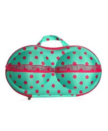 Home Union Lingerie Storage Case With Handle Polka Dot Print - Dark Green