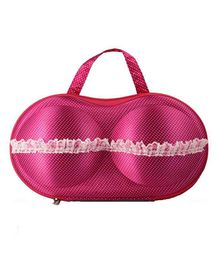 Home Union Lingerie Storage Case With Handle Dot Print - Dark Pink