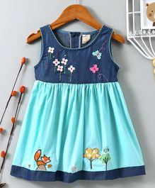 ABQ Embroidered Sleeveless Dress - Blue