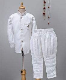 Jeet Ethnics Sherwani With Diamond Brooch & Pajama Set - White