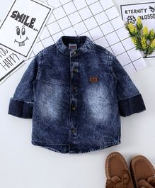 Babyhug Mandarin Collar Denim Shirt - Dark Blue