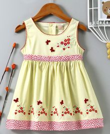 ABQ Flower & Butterfly Embroidered Sleeveless Dress - Yellow