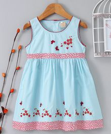 ABQ Flower & Butterfly Embroidered Sleeveless Dress - Blue