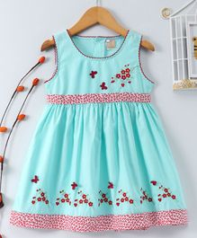 ABQ Flower & Butterfly Embroidered Sleeveless Dress - Green