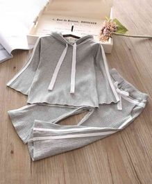 Pre Order - Awabox Solid Full Sleeves Hoodie & Flared Bottom Set - Grey