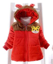 Pre Order - Awabox Tiger Applique Full Sleeves Jacket With Hood - Red