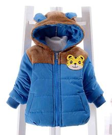 Pre Order - Awabox Tiger Applique Full Sleeves Jacket With Hood - Blue