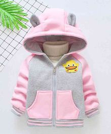Pre Order - Awabox Duck Applique Hooded Jacket - Pink