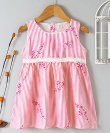 Qileduoge Floral Print Striped Sleeveless Dress - Pink