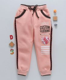 Olio Kids Full Length Fleece Lounge Pant Vintage Print - Peach
