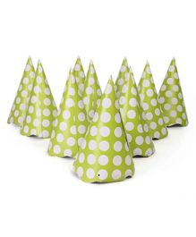 B Vishal Polka Dots Print Paper Caps Green - Pack of 10
