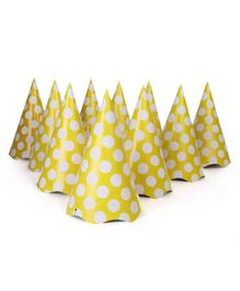 B Vishal Polka Dots Print Paper Caps Yellow - Pack of 10