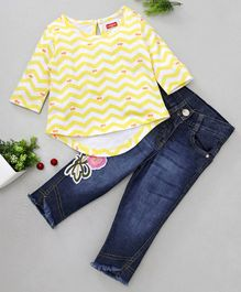 Babyhug Three Fourth Sleeves Tee With Denim Pants Chevron Print - Yellow