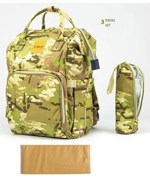 T-Bags Diaper Backpack With Bottle Holder & Changing Mat Camouflage Design - Light Green