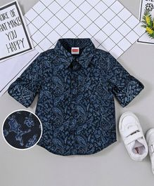 Babyhug Full Sleeves Floral Print Shirt - Navy