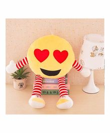 Frantic Heart Eye Plush Cushion With Stripe Hands And Legs - Yellow