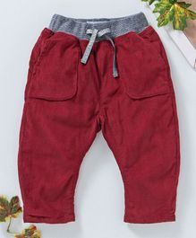 marshmallows Corduroy Pants With Drawstrings - Maroon
