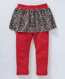 Crayonflakes Leopard Print Full Length Skeggings - Red