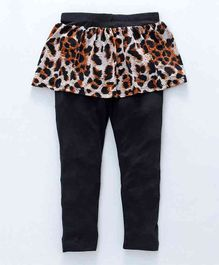 Crayonflakes Leopard Print Full Length Skeggings - Black