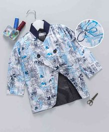 Knotty Kids Floral Print Full Sleeves Blazer - Blue