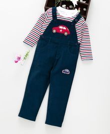 ToffyHouse Corduroy Dungaree With Striped Tee - Green