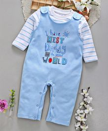 ToffyHouse Dungaree Style Printed Romper With Striped Tee - Blue