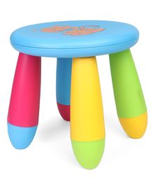 Kids Stool Tiger Print - Blue Multicolour