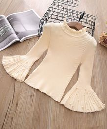 Pre Order - Awabox Rib Knit Bell Sleeves Sweater With Pearls - Beige
