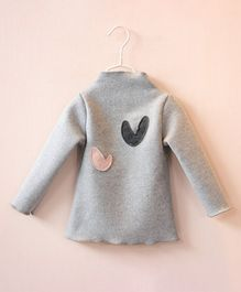 Pre Order - Awabox Heart Patch Full Sleeves Top - Light Grey