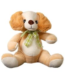 Play N Pets - 30 cm Soft Toy Dog With Ribbon Brown