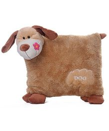 Play N Pets - 30 cm Soft Dog Shaped Cushion Brown
