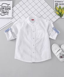 Babyhug Mandarin Collar Solid Shirt - White