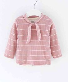 Pre Order - Awabox Stripes Knotted Full Sleeves Top - Pink