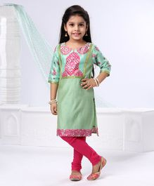 Babyhug Full Sleeves Printed Kurti & Chudidaar Set - Green