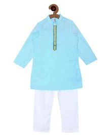 Campana Embroidered Kurta Pyjama Set - Blue