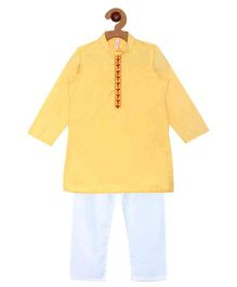 Campana Embroidered Kurta Pyjama Set - Yellow