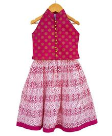 Campana Lehenga With Sleeveless Choli - Pink & Magenta